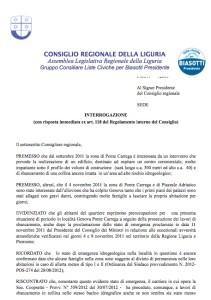 l'interrogazione regionale del consigliere Lorenzo Pellerano indirizzata all'assessore Briano