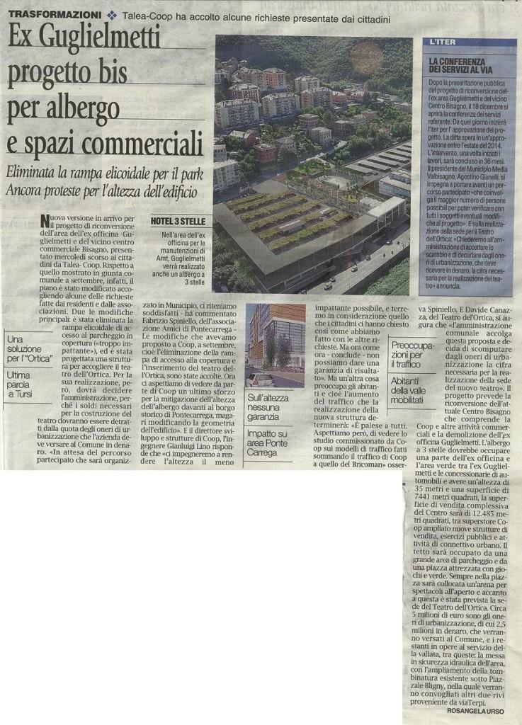 Articolo de Il Corriere Mercantile di Venerdì 29 novembre 2013