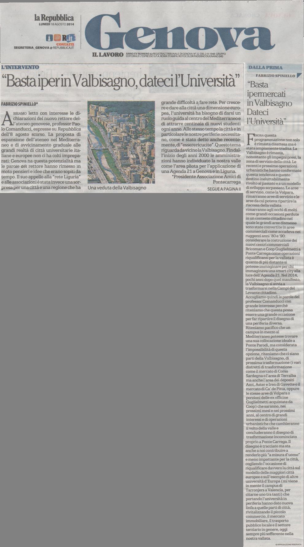 La Repubblica art unige 18 agosto 2014
