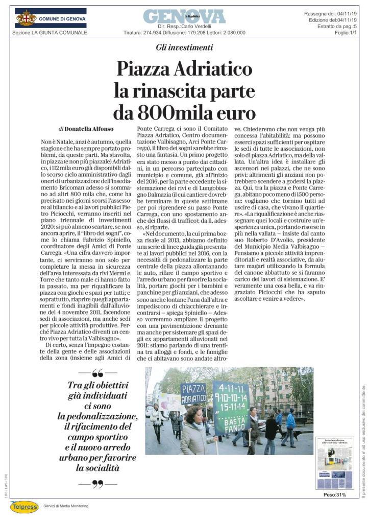 Articolo su Piazza Adriatico La Repubblica