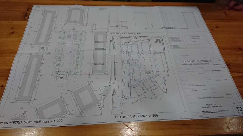 La tavola della prima versione del progetto di massima per il rifacimento di Piazza Adriatico