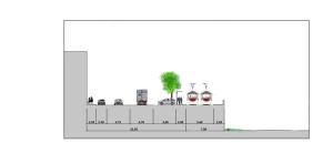 , sezione Bobbio punto più stretto più con gli alberi 2,05 e allargamento
